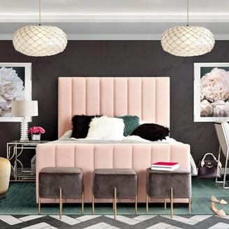 Venus Vertical Channel Tufted Upholstered Standard Bed Diamond Sofa Color: Blush Pink, Size: King