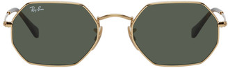 Ray-Ban Gold and Green Hexagonal Sunglasses