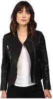 Blank NYC Vegan Leather Collarless Jacket with Zipper Detail in Power Trip