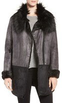 Tahari Women's Faux Shearling Coat With Faux Fur Trim