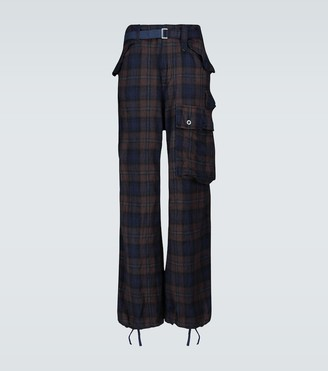 Sacai Check Shrivel wool cargo pants