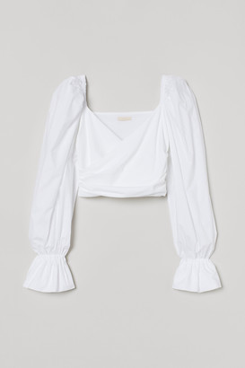 H&M Puff-sleeved wrapover top