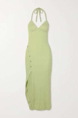 Alix Pierce Ribbed Stretch-modal Jersey Halterneck Midi Dress