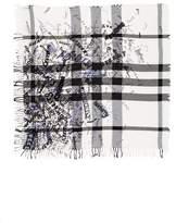 Burberry Women's Sketchbook Text Mega Check Silk & Cotton Scarf