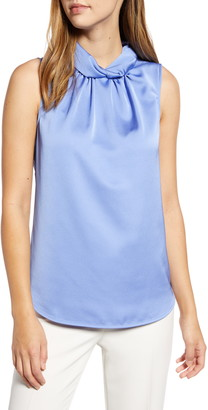 Anne Klein Satin Crepe Twist Collar Shell