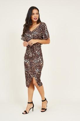 Yumi Brown Leopard Bodycon Dress