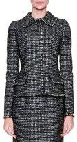 Dolce & Gabbana Peter Pan-Collar Tweed Jacket, Black/Gray/Multi