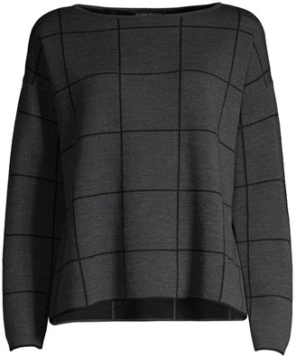 Eileen Fisher Boxy Grid Print Top
