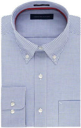 Tommy Hilfiger Men's Non Iron Regular Fit Check Button Down Collar Dress Shirt