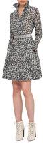 Akris Ai-Print Long-Sleeve Belted A-Line Dress, Black/White