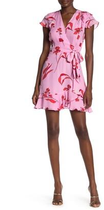 Parker Blondie Floral Print Silk Blend Faux Wrap Dress