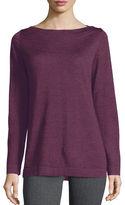 Eileen Fisher Boat-Neck Merino Wool Jersey Top, Plus Size