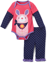Buster Brown Fuchsia Purple & Medieval Blue Bunny Bodysuit & Pants - Infant