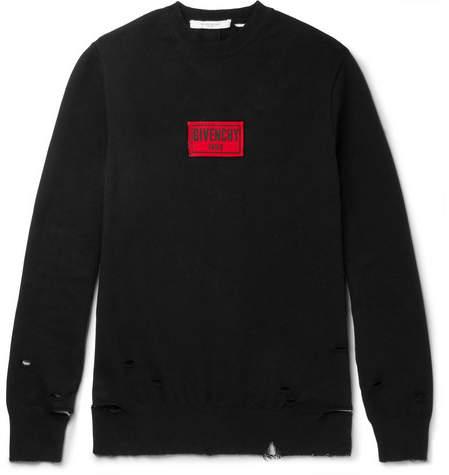 Givenchy Appliquéd Distressed Cotton-Blend Jersey Sweatshirt