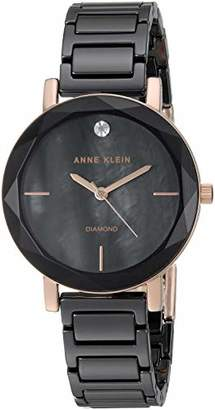 Anne Klein Women's AK/3364BKRG Diamond-Accented Rose Gold-Tone and Black Ceramic Bracelet Watch