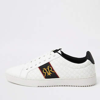 River Island White RI monogram trainers