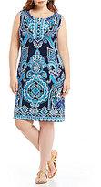 Allison Daley Plus Sleeveless Paisley Mirror Print Shift Dress