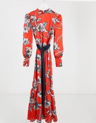 Liquorish drop hem maxi dress in red floral