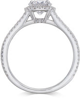 Macy's Certified Diamond Halo Engagement Ring (1-1/2 ct. t.w.) in 14k White Gold