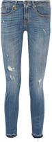 R 13 Alison Crop Distressed Mid-rise Skinny Jeans - Mid denim
