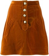 Derek Lam 10 Crosby Stretch Velveteen A-Line Mini Skirt with Snaps