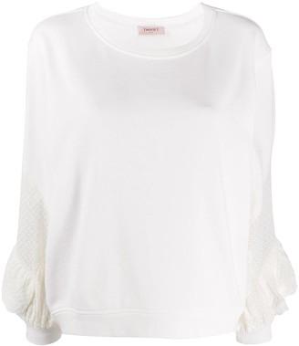Twin-Set Broderie Anglaise Ruffle Sweatshirt