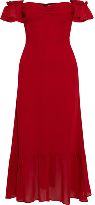 Reformation Butterfly Off-the-shoulder Crepe Midi Dress