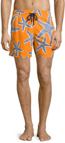 Vilebrequin Moorea Starlets Starfish-Print Swim Trunks, Orange