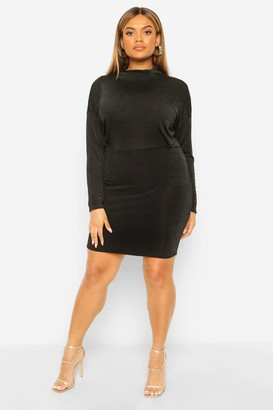 boohoo Plus Textured Slinky High Neck Bodycon Dress