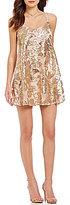 Honey and Rosie Sequin Floral Pattern Slip Dress