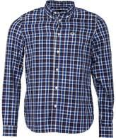 Fred Perry Mens Herringbone Large Check Long Sleeve Shirt Service Blue