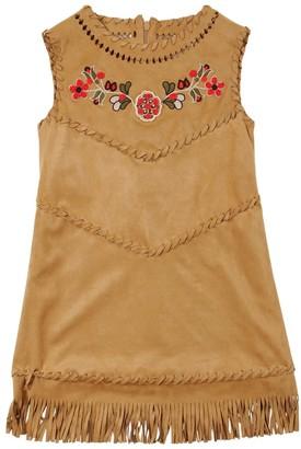 Alberta Ferretti Faux Suede A-line Dress