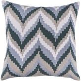 "Forestburgh Cotton Throw Pillow Cover George Oliver Size: 18"" H x 18"" W x 0.25"" D, Color: Blue\Brown"