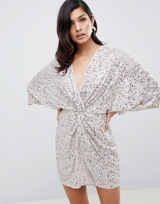 Asos DESIGN scatter sequin knot front kimono mini dress