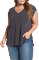 Lucky Brand Plus Size Women's Slit Sleeve V-Neck Tee