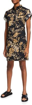 Etro Jungle Leaf-Print Short-Sleeve Cady Dress