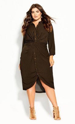 City Chic Twisted Stripe Dress - copper