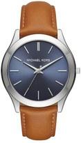 MICHAEL Michael Kors 'Slim Runway' Leather Strap Watch, 44mm