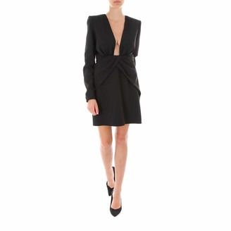 Saint Laurent Ruched V-Neck Dress