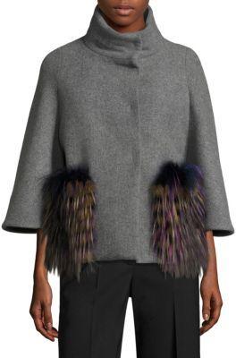 Aquilano Rimondi Fur Pocket Puffer Back Wool Cape Coat