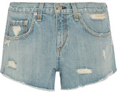 Rag & Bone Boyfriend Studded Distressed Denim Shorts - Light denim