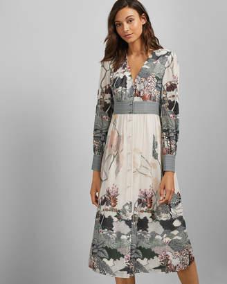 Ted Baker NYNINA Long sleeved Willow print deep V neck dress