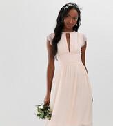 TFNC Tall Tall lace detail midi bridesmaid dress in pearl pink