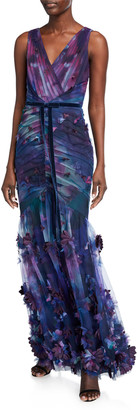 Marchesa Notte Sleeveless Printed Tulle Fit-&-Flare Gown w/ 3D Flowers