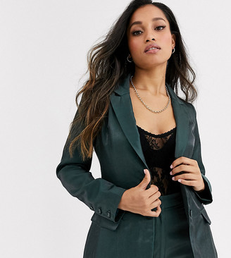 Fashion Union Petite tailored blazer coord with pocket detail in green satin
