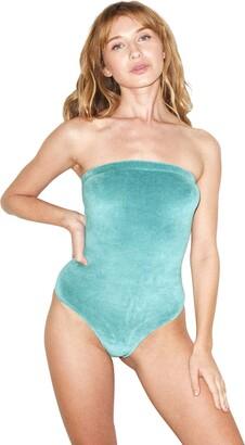 American Apparel Women's Stretch Velour Strapless Bodysuit