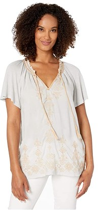 Lucky Brand Embroidered Peasant Top (Ice Blue) Women's Clothing