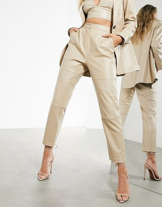ASOS EDITION leather pants in stone
