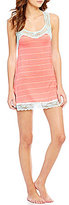 Honeydew Intimates Ahna Lace-Trimmed Striped Chemise