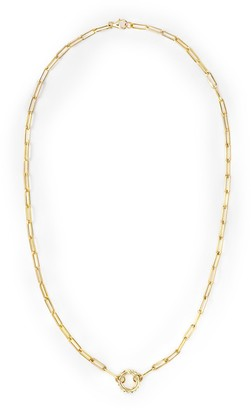 Foundrae 18kt yellow gold Classic Fob open chain necklace